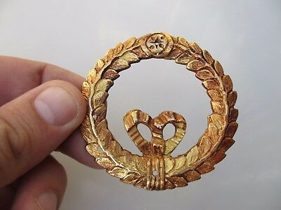 """Small Gold Ormolu Furniture Hardware French Antique STYLE Wreath Ribbon  2.3/8""""W"""