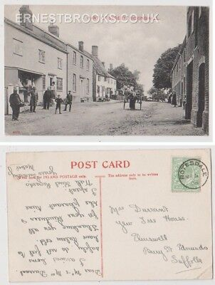 Early Postcard,Suffolk,Rickinghall,Part Of Street,Old Houses,People Outside,1908