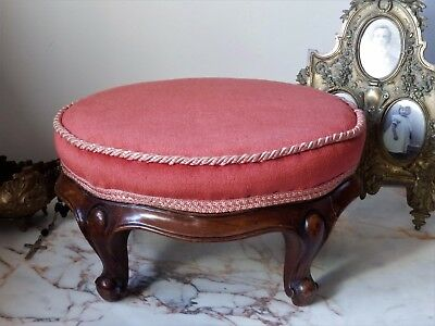 Original Antique French 'Puce' Pink Upholstered Small Wooden Stool Foot Rest