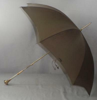 Vintage Green Parasol Umbrella- Gold Plate & Mother Of Pearl Handle-