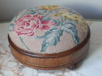 Original Antique Floral Tapestry Small Circular Inlaid Marquetry Stool Foot Rest