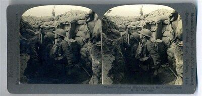 Entrenched Highlanders on Lookout Using Mirror Periscopes Keystone Stereoview