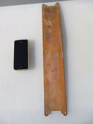 Large Victorian Copper Finger Plate Push Door Handle Antique Old Vintage  18""