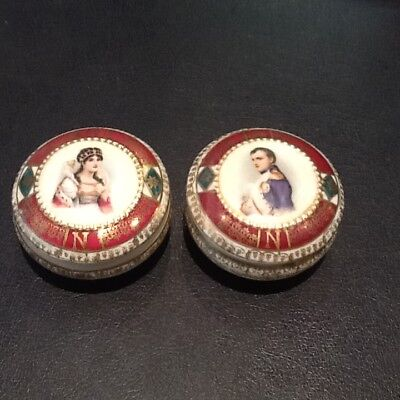 Pair Of Round Antique Royal Vienna Portrait Box's Must See No Reserve