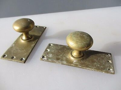 Antique Brass Door Knobs Handles Backing Plates Vintage Old Victorian Reclaimed