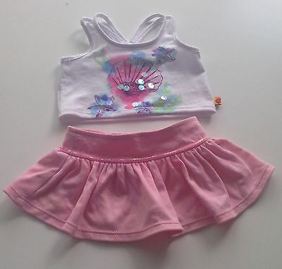 Build A Bear Clothes - White Sea Shell Tank Top And Pink Skirt