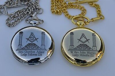 PERSONALISED MASONIC POCKET WATCH YOUR WITH OWN NAME AND LODGE No PLUS 3 MESSAGE