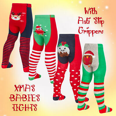 Babies Baby Girls Novelty Christmas Tights Cotton Rich Festive Print Xmas 2 Pack