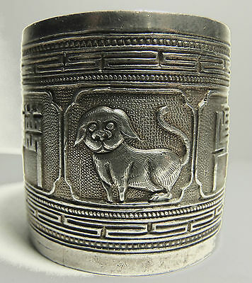 Chinese Export Napkin Ring Dog Crane Floral Character Sterling Silver Hallmarked