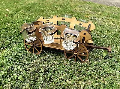 Wooden trolley with 6 glasses, handmade