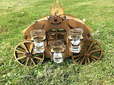 Wooden carriage with 6 glasses, handmade
