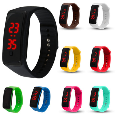 Kids Boys Girls Sport LED Rubber Silicone Bracelet Digital Wrist Watch Fitness