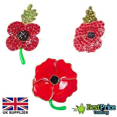 Red Diamante Poppy Flower Brooch Rhinestone Crystal Badge Pin Remembrance Day