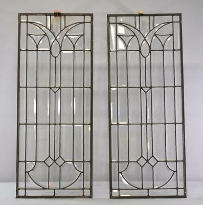 "Pair Of Clear Fully Beveled Glass Windows Door Panels 40.5""h X 16.5""w"