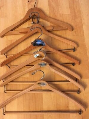 "Vintage Wooden Hangers Lot of 6 Advertising Robert Hall 17"" Suit Shirts Pants"