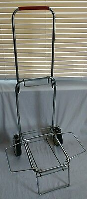 Vintage Folding Luggage Cart Baggage Cart With White Wheels and Red Handle