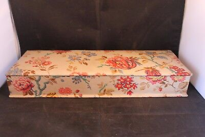 Antique French fabric glove box. c1900. Lovely condition. Floral satin