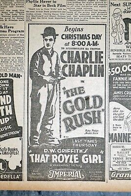 Lot of 2 -1925 Charlie Chaplin Newspaper Movie Ads - The Gold Rush