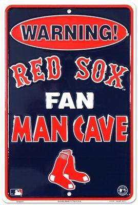 Red Sox Man Cave Metal Sign Embossed Baseball Team Fan Cave Decor 8 x 12
