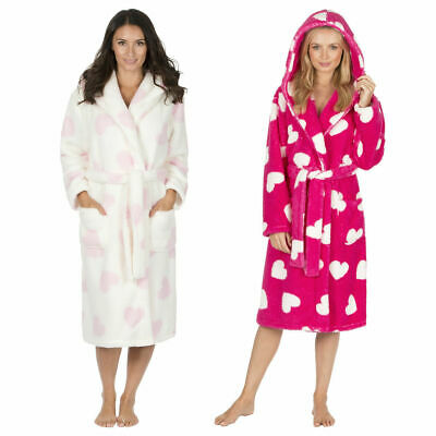 eb0660861a Forever Dreaming Womens Heart Print Dressing Gown Fluffy Fleece Luxury Robe  New