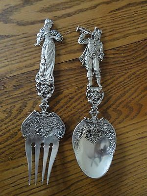 Antique Hanau Germany Large Silver Figural Fork & Spoon