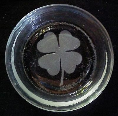Vintage Small Round Etched Glass Ashtray/Coin Dish - Four Leafed Clover/Shamrock