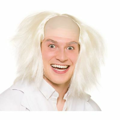 Adults Mad Crazy Scientist Bald Halloween Wig Hair Fancy Dress Outfit Accessory