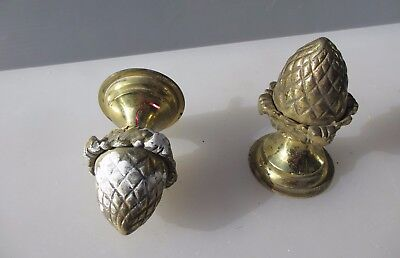 Antique Solid Brass Finials Acorn Curtain Pole Ends Knobs Vintage Old Pine Cone