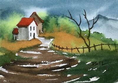 ACEO Original Art Watercolour Painting by Bill Lupton - What a View
