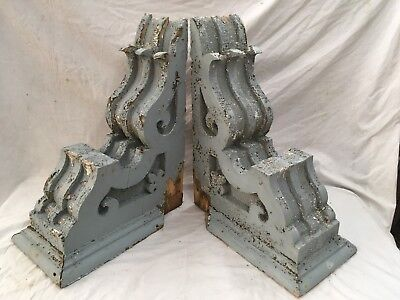 Large Pair Antique Shabby Wood Victorian Corbels Roof Brackets Vtg Chic 705-17E