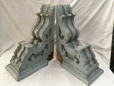 Large Pair Antique Shabby Wood Victorian Corbels Roof Brackets Vtg Chic 706-17E