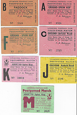7 different LIVERPOOL FC home postponed tickets: 1965-1979: Anfield