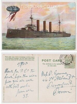 Early Postcard, Ships, H M S Kent, 1908