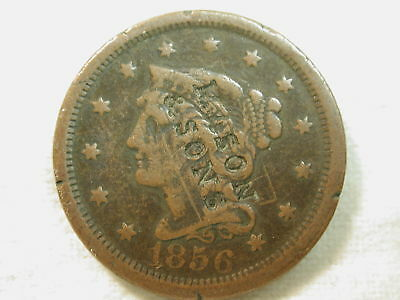 1856 U.S. Large Cent Type Counter Stamped Mason & Sons (Stamped) Fine