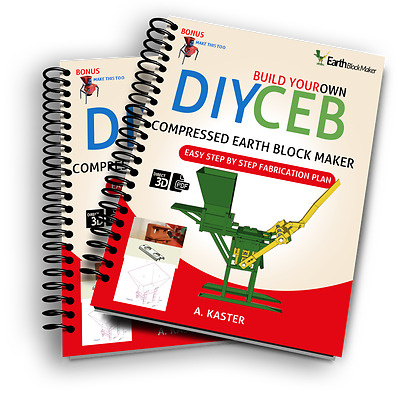 DIY Compressed Earth Block Maker (2 QMR 20 FAB PLANS)+ Soil Crusher (PDFs files)