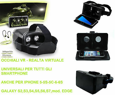 Occhiali VR realtà virtuale 3D By Side.Per iphone 5-6-6s.Galaxy S5,S6,S7 + EDGE