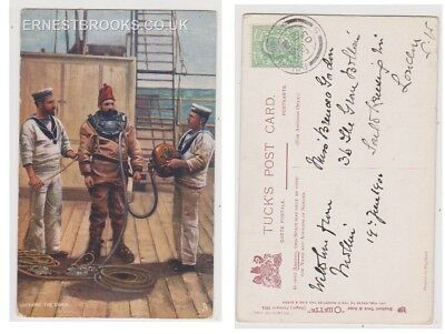 Early Postcard, Ships, Dressing The Diver, 1905