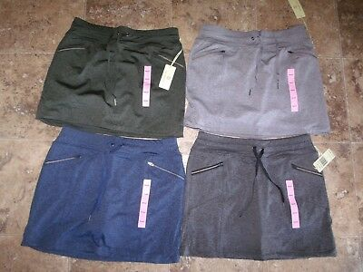 New Womens Tangerine Heather Skort Skirt Heather Gray Olive Green Navy Blue