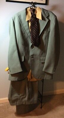 Tacky Vintage Polyester Suit-Jacket 44, Pants 36 Waist Green FREE Ugly Shirt&Tie
