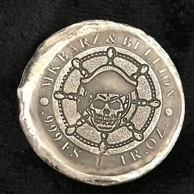 """1 tr/oz MK BarZ Double Sided """"Pirate Captain Coin"""" Round .999 FS"""