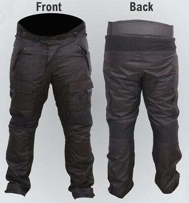 Waterproof Motorcycle Trousers Mens Black CE Armoured Motorbike Textile Thermal