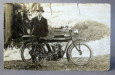 circa 1910 INDIAN MOTORCYCLE w/ rear fender rack seat RPPC real photo postcard