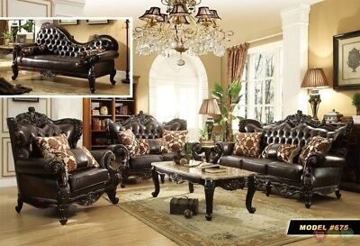 Wondrous Barcelona Victorian Traditional 3Pc Brown Leather Sofa Set Creativecarmelina Interior Chair Design Creativecarmelinacom