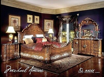 Michael Amini Excelsior King Panel Bed 4 Piece Luxury Bedroom Furniture Set NEW