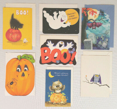 Lot of 7 Halloween Greeting Cards 7 Designs Hallmark Vintage Great Condition