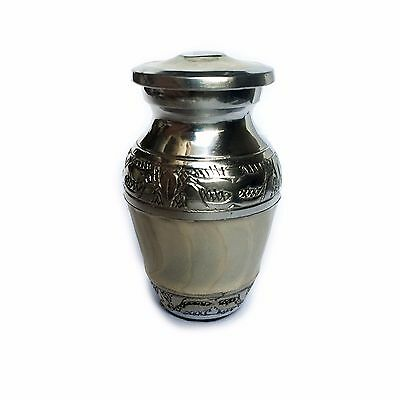 Mini Urn Silver & Marble Pattern Effect, Screw Cap - Human/Pet Ashes Cremation