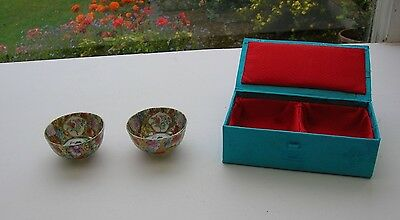 A Pair of Miniature Japanese Style Bowls In Presentation Case Dolls House