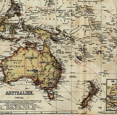 Australia New Zealand Port Jackson Philip Sydney Melbourne c.1865 Meyer old map