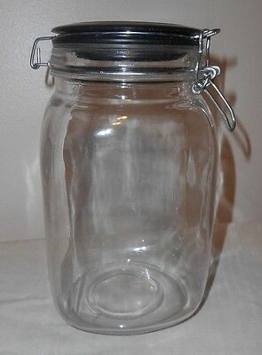 Clear Glass CANISTER JAR w/ Black & Stainless Lid  CANDY, COOKIES, TREATS, DECOR