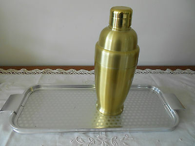 Art Deco Anodized Aluminium Gold Cocktail Shaker And Silver Drinks Tray England